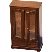 REDUCED Antique Doll Miniature Cabinet Wood Wardrobe For French Fashion Adorable Glass Front .