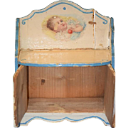 Antique Doll Miniature Wood Painted Chest W/ Children Scenes French Cottage