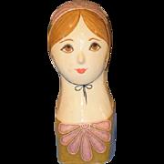 REDUCED Doll Papier Mache Head Bust Signed Capistrano Paper Mache Gemma Taccogna