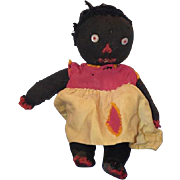 REDUCED Old Doll Black Cloth Doll Stockinette Rag Doll