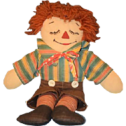 Vintage Doll Raggedy Andy Awake Asleep Rag Doll Cloth