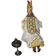 Wonderful Doll Religious Miniature Wood Carved Jointed Body & Wax Head Creche W/ Old Clothes .