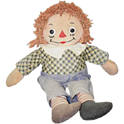 Old Doll Johnny Gruelle's Georgene Novelties Raggedy Andy CUTE outfit!! Cloth Doll Tagged ...