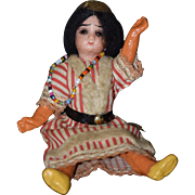 Antique Doll Miniature Bisque Indian Native American Dollhouse