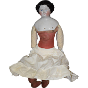Antique Doll China Head Flat Top Smiling Big Girl