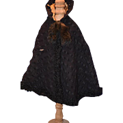 Antique Doll Cape with Fur Tassels For French Doll Wonderful Swing Coat
