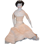 Old Doll German Bisque China Head Lady Limbach Fancy Sculpted Hair with Mold Bow and ...