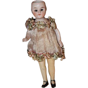 Antique Doll All Bisque Original Outfit Flapper Style Miniature Dollhouse