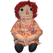 OLD Doll Cloth Raggedy Ann UNUSUAL HUGE Wonderful Clothes 34""