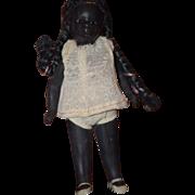Antique Doll Black All Bisque Miniature Dollhouse Glass Eyes Kestner
