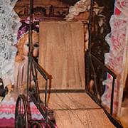 Antique Doll Stroller Pram Small French Fashion Adorable Folding Metal