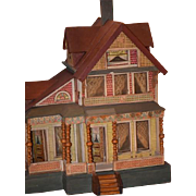 SOLD Antique Doll Dollhouse Miniature Bliss Litho & Wood Wonderful Elaborate Two Story W/ Porc