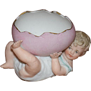 Antique Doll Piano Baby Heubach Baby with Hatched Egg Sweet Miniature Figurine
