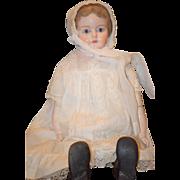 "Antique Doll HUGE Papier Mache Glass Eyes Fab Clothing 30"" Tall Paper Mache"