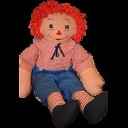 Vintage Doll Raggedy Andy Cloth Doll Button Eyes