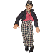 SOLD Old Doll Charlie Chaplin Swiss Bucherer Metal Doll Rare Original Clothing