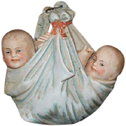 SOLD Old Doll Miniature Bisque Twins Piano Baby Wrapped in Blankets Unusual Swing