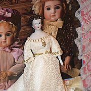 Antique Doll China Head Fancy Rare Hair Style Gorgeous Cabinet Size Molded Necklace Conte & Bo