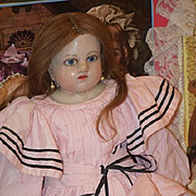 Antique Doll Poured Wax Glass Eyes W/ Real Hair Wig