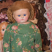 Antique Doll Wax Over Paper Mache Papier Mache Glass Eyes