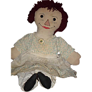 Old Doll Cloth Doll Rag Doll Raggedy Ann Folk Art Large Unusual Button Eyes