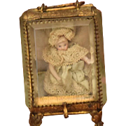 Antique Doll French Gilt Metal Cabinet Casket Beveled Glass Carriage Case W/ Miniature Doll Al
