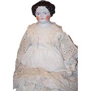 "Antique Doll China Head HUGE Dressed In Antique Clothing! 27 1/2"" Flat top"