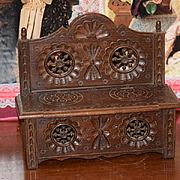 Antique Doll French Brittany Bench W/ Trunk Seat Ornate Miniature Wood