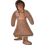 Old Doll Leather Indian Lady Doll Unusual Native American