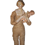 Old Doll Carved Wood Neapolitan Figure Creche Mother and Child