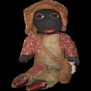 """Old Doll Cloth Doll Rag Doll Black Doll Folk Art Primitive Unusual """"Farmer John"""""""