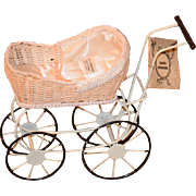 Vintage Louis Nichole Doll Pram Carriage Buggy Fashion Doll Size Miniature