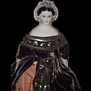 Old Doll Emma Clear China Head Doll W/ Fancy Snood Earrings WONDERFUL GOWN Beaded Artist
