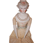 Old Doll Emma Clear Artist Signed Parian China Head Pierced Ears Corset Toinette Parian