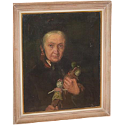 Antique Doll Painting Grandma with her Dolls Oil Painting Wonderful Lady with Dolls