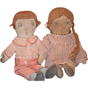 Old Cloth Doll Set Rag Doll Folk Art Primitive Cloth Doll Pair Boy & Girl Sewn ...