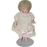 Antique Doll Miniature All Bisque Jointed Fancy Dollhouse