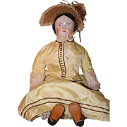 Antique Doll China Head Covered Wagon Doll with Pink Tint Wonderful Old Leather Shoes