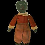 Old Doll Black Cloth Doll Stockinette Charming Rag Doll Folk Art Primitive