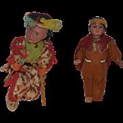 Antique Doll Set Bisque Indian Dolls Wonderful TWO DOLLS Bow & Arrow Original Clothing Native