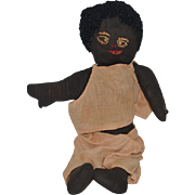 Old Doll Black Cloth Doll Rag Doll Sewn Features