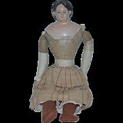 Antique Doll Greiner W/ Tag Papier Mache Paper Mache Cloth Folk Art
