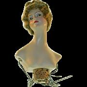 Old Doll German Baitz Half Doll Boudoir Doll Signed