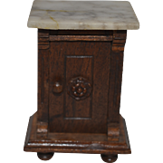 Antique Doll Miniature Dollhouse Wood and Marble Table Cabinet Fancy Furniture