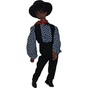 """Old Doll Unusual Doll Black Man Smoking Glass Eyes 34"""" tall Wood & Composition Jointed"""