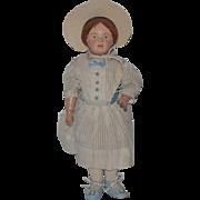 Antique Doll Schoenhut Carved Hair W/ Bow