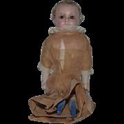 Antique Doll Papier Mache Wax W/ Wood Body