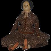 """Antique Doll Papier Mache Paper Mache Large Superior W/ Provenance 27"""" Tall"""