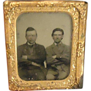 REDUCED Antique Miniature Tin Type Gold Frame Two Men in Suits Ornate Doll House Photograph