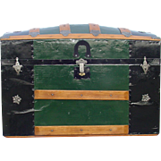 Large Antique Humpback Trunk w/ a July 1872 Patent Date On The Locks.  Awesome restoration!